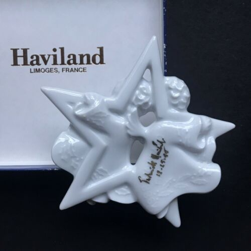1988 Signed Frederick Haviland Limoges Christmas Ornament - The Star Angels