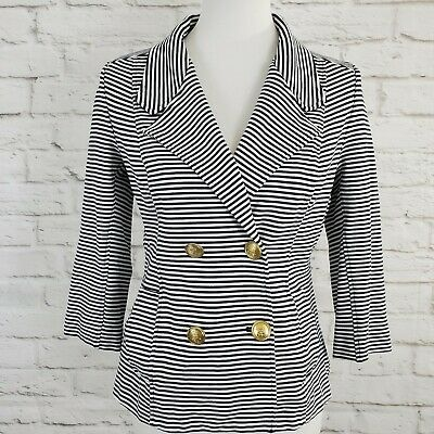 Cabi Life Jacket Blazer Womens Size Medium Nautical Stripes Blue White Pockets , used for sale  Shipping to India