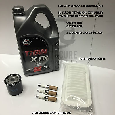 FITS TOYOTA AYGO 1.0  SERVICE KIT OIL+AIR FILTER SPARK PLUGS 5L OIL (2005-2012)
