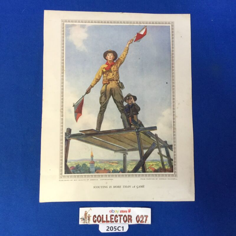 """Boy Scout Vintage Norman Rockwell Print """"Scouting Is More Then A Game"""""""
