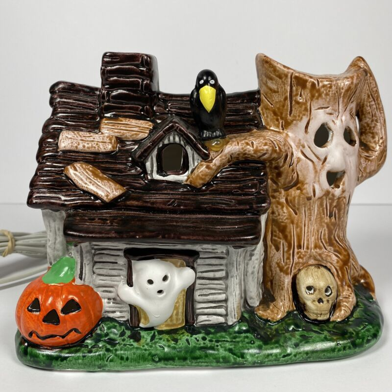 "Vtg Ceramic 1970s Haunted House Light Up Ghost Crow Tree Skull JackOLantern 6x8"""