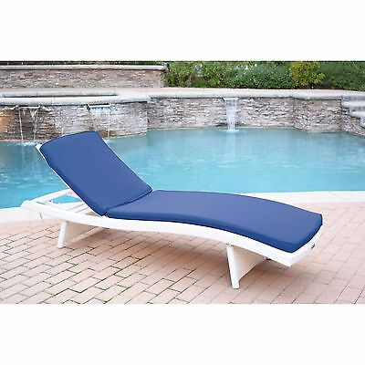 White Resin Wicker Frame Patio Chaise Lounge Outdoor Home Furniture Garden Deck