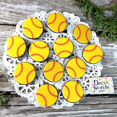 12 SOFTBALL Small Pins trade button Badges  PINBACK party favor team DecoWords  - Softball Party Favors