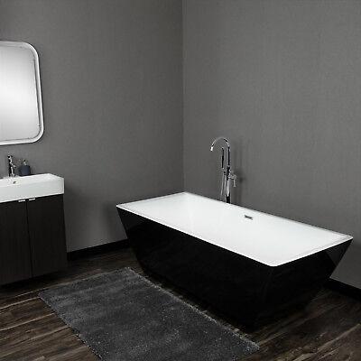 "70"" Rectanglular Black Acrylic Luxury Bathtub"