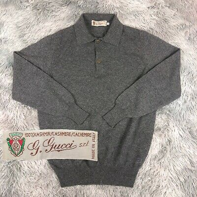 Vintage 1970's Authentic GUCCI GG Cashmere Gray Knit Polo Long Sleeve Sweater 48