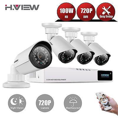 H.View CCTVSecurity CameraSystem 4CH 720P AHD DVR Kit 1.0MP IR Cameras Outdoor