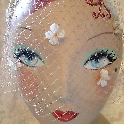 """Vtg 50s PALE PINK BRIDAL Bird Cage Veil -WHITE Flowers-PINK Velvet Bows-16"""" NET"""