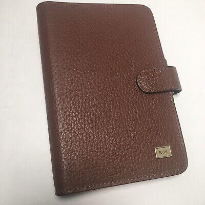 Day-timer Portable Brown Leather Planner Organizer Fits Filofax Personal Kon