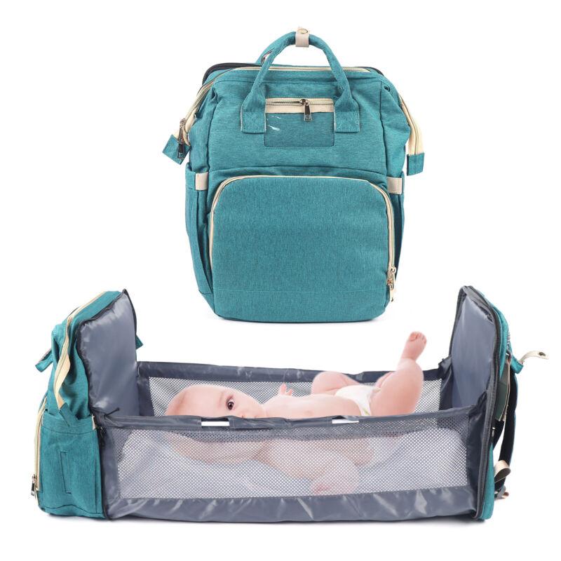 Multi-Functional Diaper Bag Portable Mummy Bag Baby Bed Crib Backpack USA