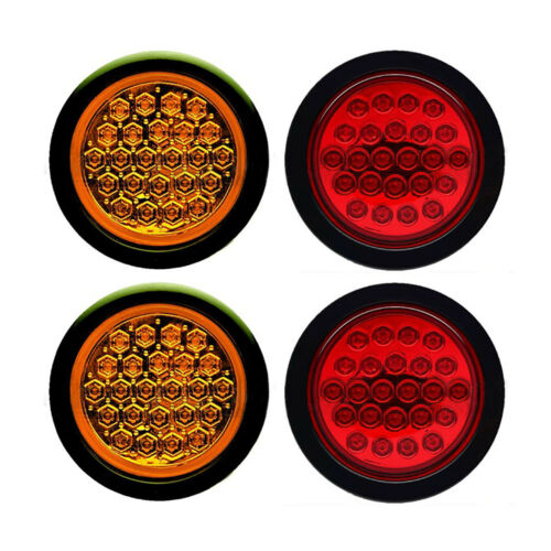 "4"" Round LED Flush Mount Brake Tail Light Turn Signal Red & Amber Trailer Lights"