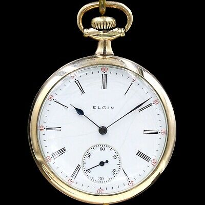 Gold 1921 ELGIN Mechanical Pocket Watch Grade 291 7 Jewels Large 16s Roman Nums