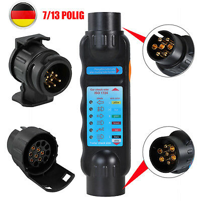 Anhänger Stecker Tester Prüfgerät Beleuchtungstester Steckdose 7/13 -poliger 12V ()