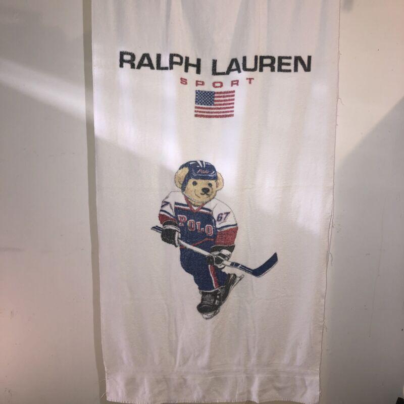 Vintage 1990's POLO SPORT Ralph Lauren 67 Hockey Polo Bear White Towel