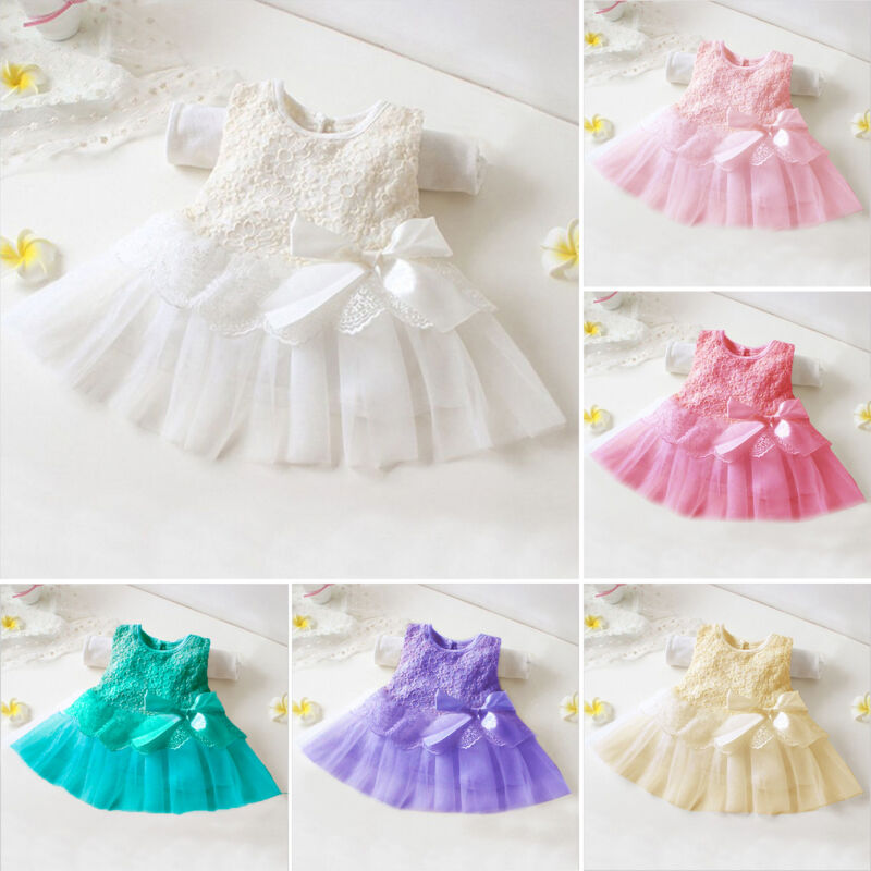 Girl Dress Bow Princess Flower Kids Baby Tutu Lace Dresses Party Birthday Gown