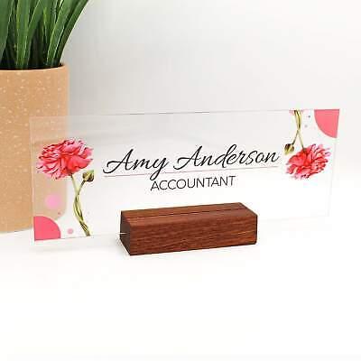 Personalized Desk Nameplate Desk Decor Wood Base Holder Office Supply Acrylic Si