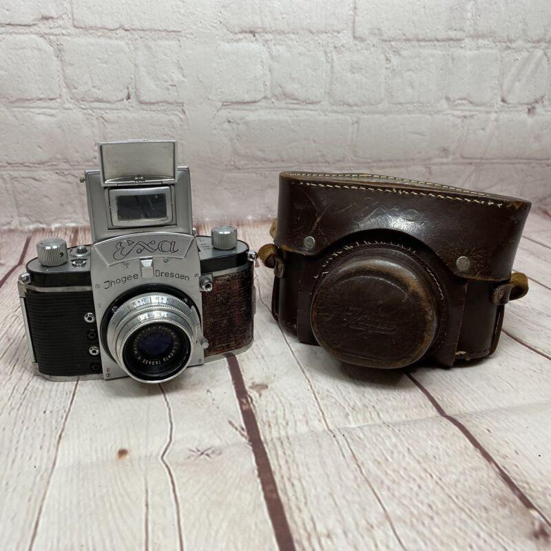 Vintage German Exacta EXA Jhagee Dresden Film Camera W Meritar 2.9 50mm Lens