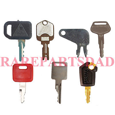 7pc Heavy Equipment Keys For Cat Case John Deere Hitachi Hyster Komatsu Bobcat