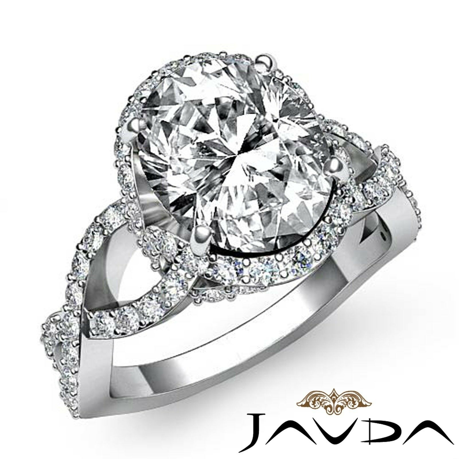 2ct Halo Pave Set Cross-Shank Oval Diamond Engagement Ring GIA H-VVS2 White Gold