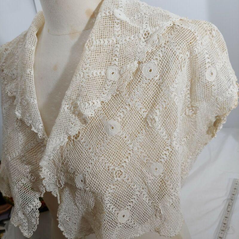 Vintage Edwardian Victorian Lace Bodice Jacket Irish Lace Bolero Jacket Handmade