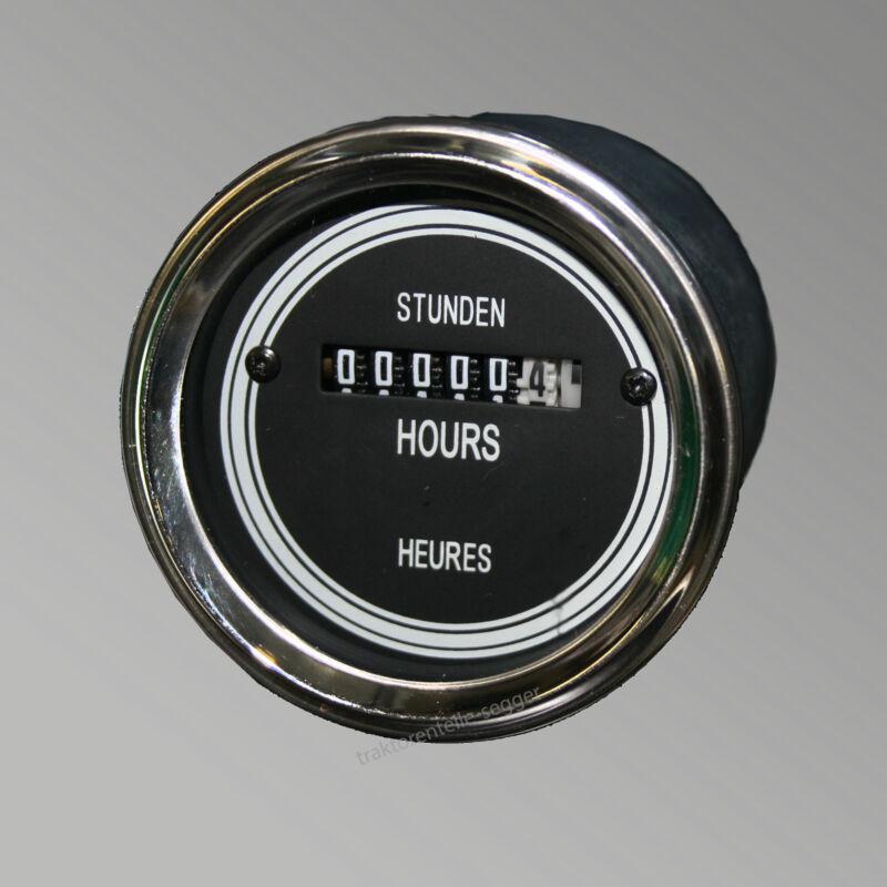 Betriebsstundenzähler  60,0 mm elektrisch Oldtimer Traktor  schwarz 518 Foto 1