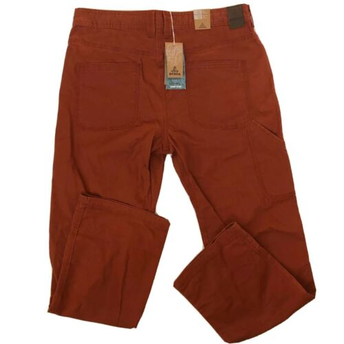 "prAna Bronson Pants Men's 34"" Henna Red New Organic Cotton E"