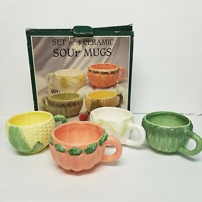 Set of 4 Ceramic Vegetable Soup Mugs Asparagus, Corn, Cabbage, Carrot 5