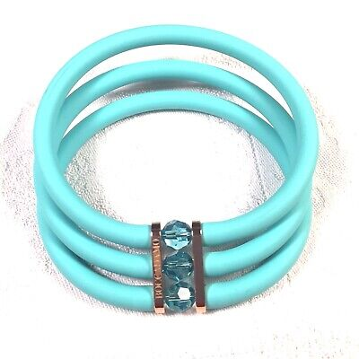 TOOBE BOCCADAMO TRIPLE STRAND TURQUOISE CRYSTALS RUBBER BRACELET MADE IN ITALY ()
