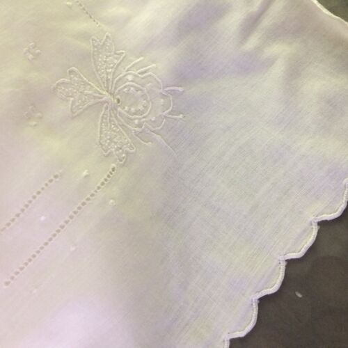 Antique? vtg boudoir pillow cover ivory sheer embroider floral VICTORIAN CHIC