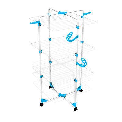 Wäscheturm blau 30m Rollen Wäscheständer Wäschetrockner für Duschkabine Dusche