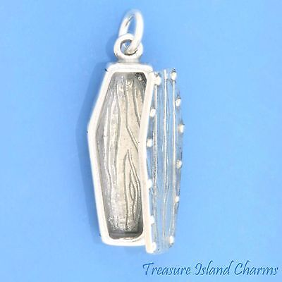 MOVABLE COFFIN 3D .925 Sterling Silver Charm LID OPENS VAMPIRE DRACULA - Halloween Opening Coffin