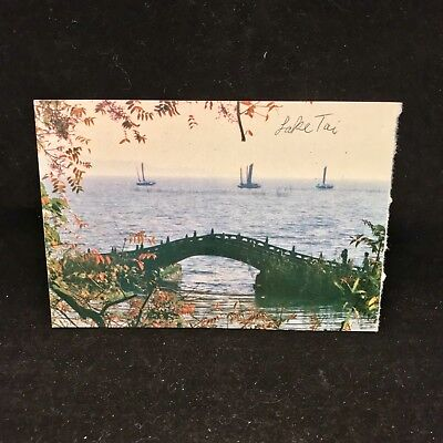 Vintage Post Card Lake Taihu Dotted With Sailing Boats Wuxi China
