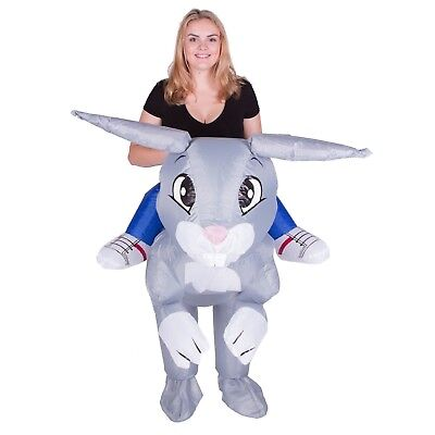 Easter Costumes (Adult Funny Inflatable Bunny Rabbit Mascot Costume Outfit Suit Halloween)