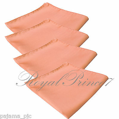 4 x Peach Solid Hankie Hankerchief Pocket Square Hanky Wedding 100ii