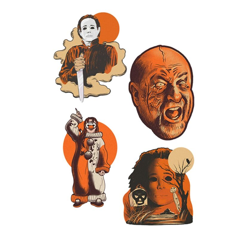 Set/4 Halloween 4 Michael Myers Vintage Style Static Wall Decal Decor Designs