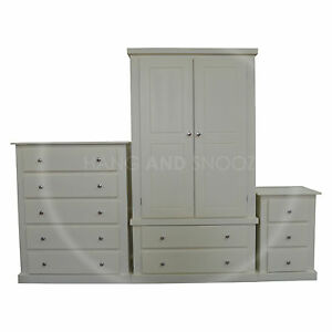 Hand made dewsbury furniture 3 piece bedroom set ivory for Bedroom ka furniture