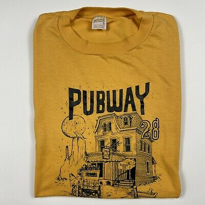 80s Tops, Shirts, T-shirts, Blouse   90s T-shirts Vintage Pub T-Shirt 80's tee Pubway 28 XL Yellow 1980s vtg $20.00 AT vintagedancer.com