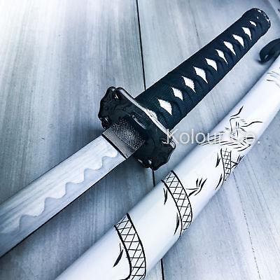 "40"" White Dragon SAMURAI NINJA Bushido KATANA Japanese Sword Carbon Steel Blade"