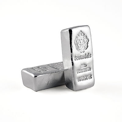 SPECIAL PRICE! 2 x 10 oz .999 Silver Bars - Loaf Poured