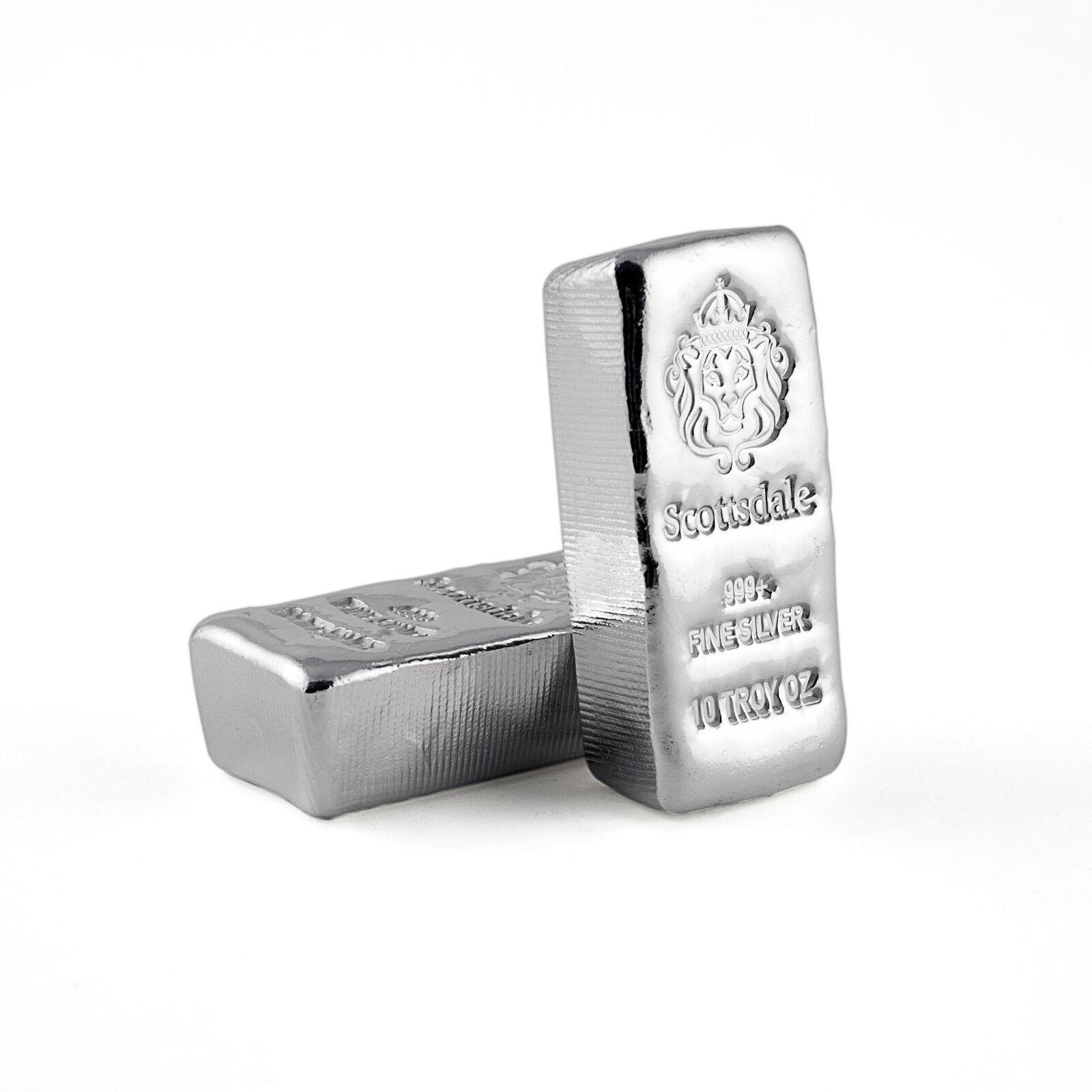 "2 x 10 oz .999 Silver Bars - Loaf Poured ""Chunky"" Bullion #A411"