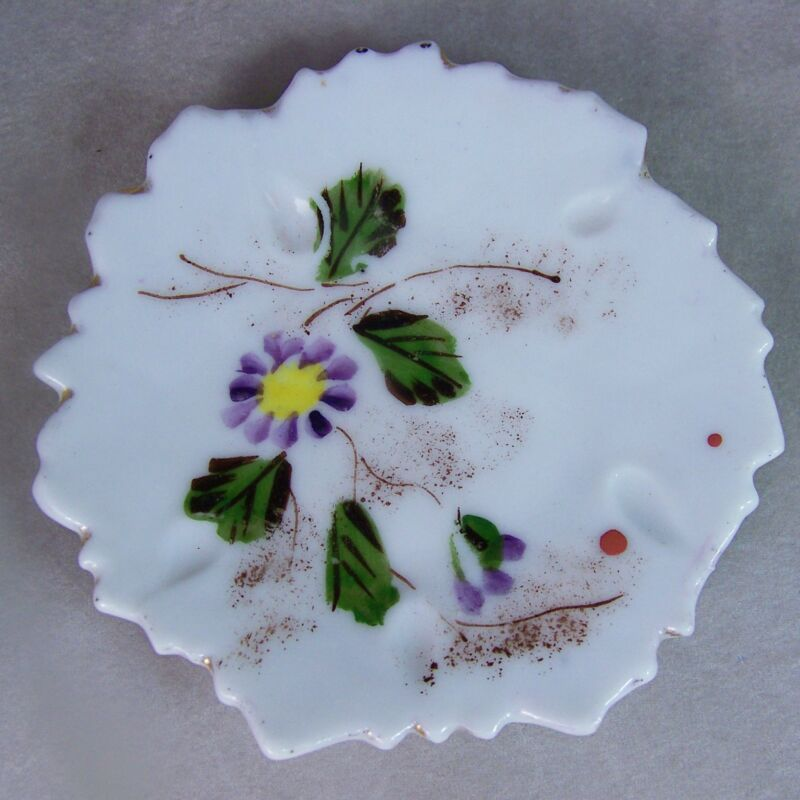 Antique Porcelain Leaf Shape Porcelain Butter Pat Hand Painted Floral Gold