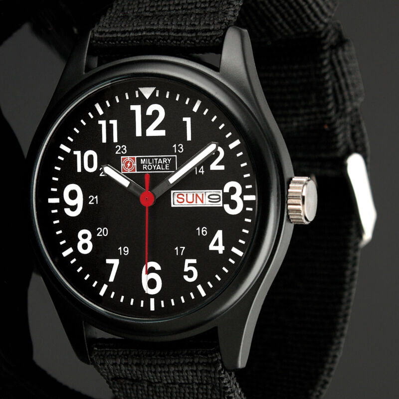 Military Royale Mens Watch Quartz Black Stainless Steel Fabric Date Display Army