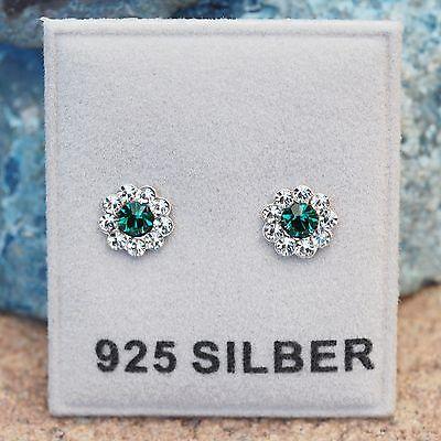 NEU 925 Silber OHRSTECKER Blüten SWAROVSKI STEINE emerald/grün/klar OHRRINGE