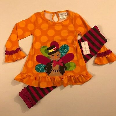 Turkey Outfit (Emily Rose NWT 18M 2T 3T 4 5 6 8 Boutique Thanksgiving Turkey Fall Tunic Outfit)