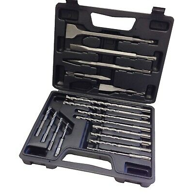 New 17pc Rotary Hammer Drill Sds Plus Bit Chisel Set Concrete Fit Hilti
