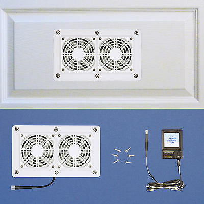 Av Cabinet Cooling - Enclosed AV Cabinet Cooling fans with multi-speed control / white model