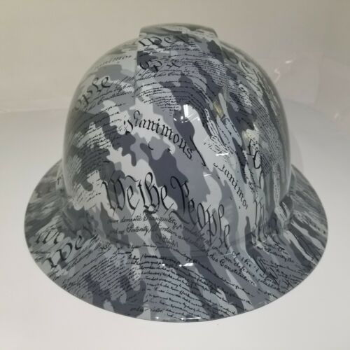 Hard Hat custom hydro dipped OSHA approved FULL BRIM,MILITARY CAMO WE THE PEOPLE