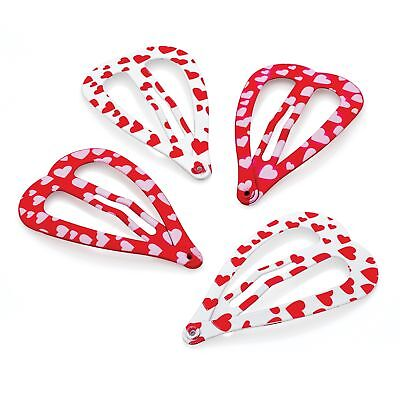 Four Piece Red & White Tone Heart Shaped Snap Clips Hair Slides Sleepies Set 4cm White Hearts Snap