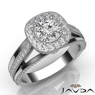 Milgrain Edge Split Shank Round Diamond Engagement Bezel Ring GIA F VVS1 1.4 Ct