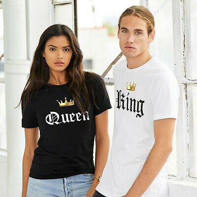 King Queen Valentine T Shirt Cute Couples Gifts For Him Her Men Women T-Shirt