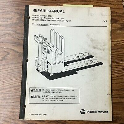 Bt Prime Mover Pmx Low Lift Electric Truck Service Repair Manual Pallet Jack